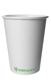 12oz Plain White Single-Wall Compostable Disposable Cups 1 by 1000