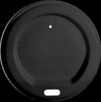 Compostable Black Lids for 8oz cups 1 x 1000