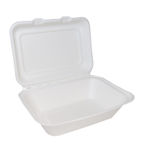 "Bagasse 7"" x 5"" Clamshell Takeaway Box 1 x 125"