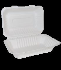 "Bagasse 9""x 6"" Clamshell Takeaway Box Large 1 x 125"