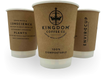 8oz Branded Double-Wall Compostable Disposable Enviro Cups 1 by 100