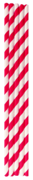Red & White Compostable Straws 200x6mm - 1 x 250