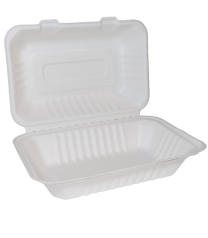 "Bagasse 9""x 6"" Clamshell Takeaway Box Large 1 x 125"