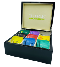 Clipper Black Lacquered Display Box with 9  Lined Compartments