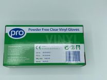 Powder Free Clear Vinyl Gloves - Small 1 x 100