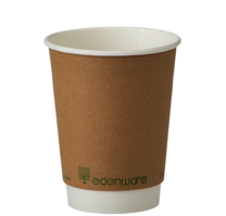 12oz Kraft Double Wall Compostable Cups 1 x 100
