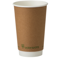 16oz Kraft Double Wall Compostable Cups 1 x 100