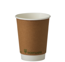 8oz Kraft Double Wall Compostable Cups 1 x 100